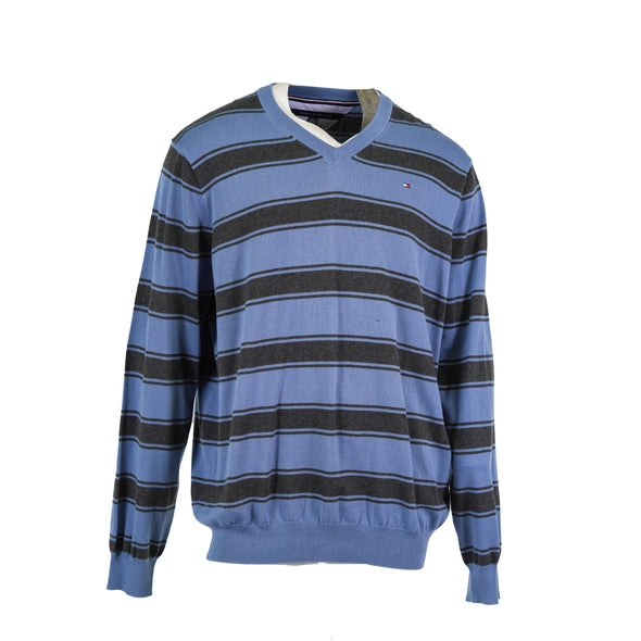 Tommy Hilfiger Men's Striped V Neck Long Sleeve Sweater Blue Gray Size XXL