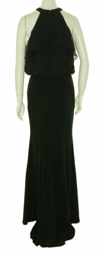 Betsy & Adam Women's Ruffled Halter Full Length Ball Gown Black Size 4