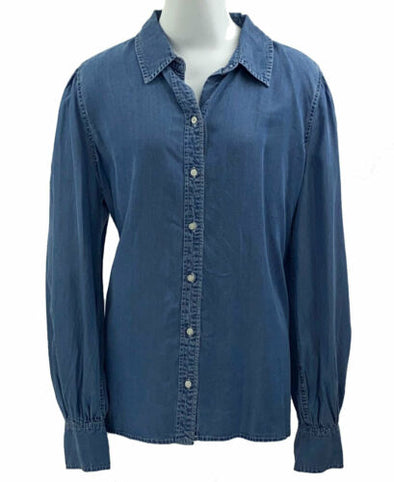 Lauren Ralph Lauren Women's Button Front Denim Shirt Blue Size XL