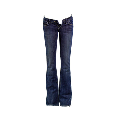 Paige Junior's Stretch Canyon Boot Cut Low Rise Jeans Dark Blue Size 24