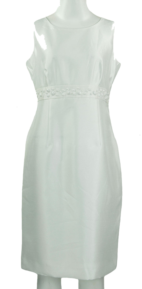 Kasper Women's Embellished Sheath Sleeveless Dress Vanilla Ice White