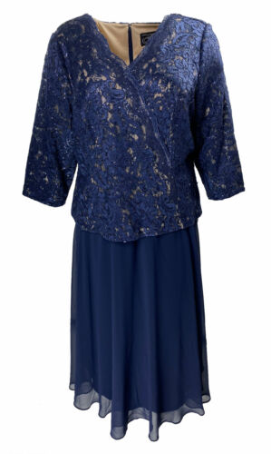 Alex Evenings Women's Plus Size Sequined Lace Midi Dress Navy Blue