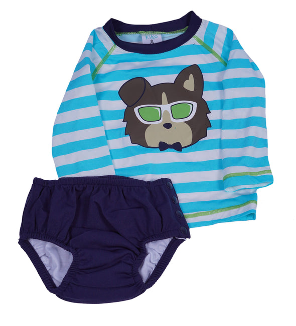 Kiko & Max Little Boy's Bea Long Sleeve 2 Piece Rashguard Swim Set Blue White