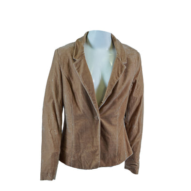 Kensie Women's Long Sleeve One Button Velvet Blazer Beige Size Medium