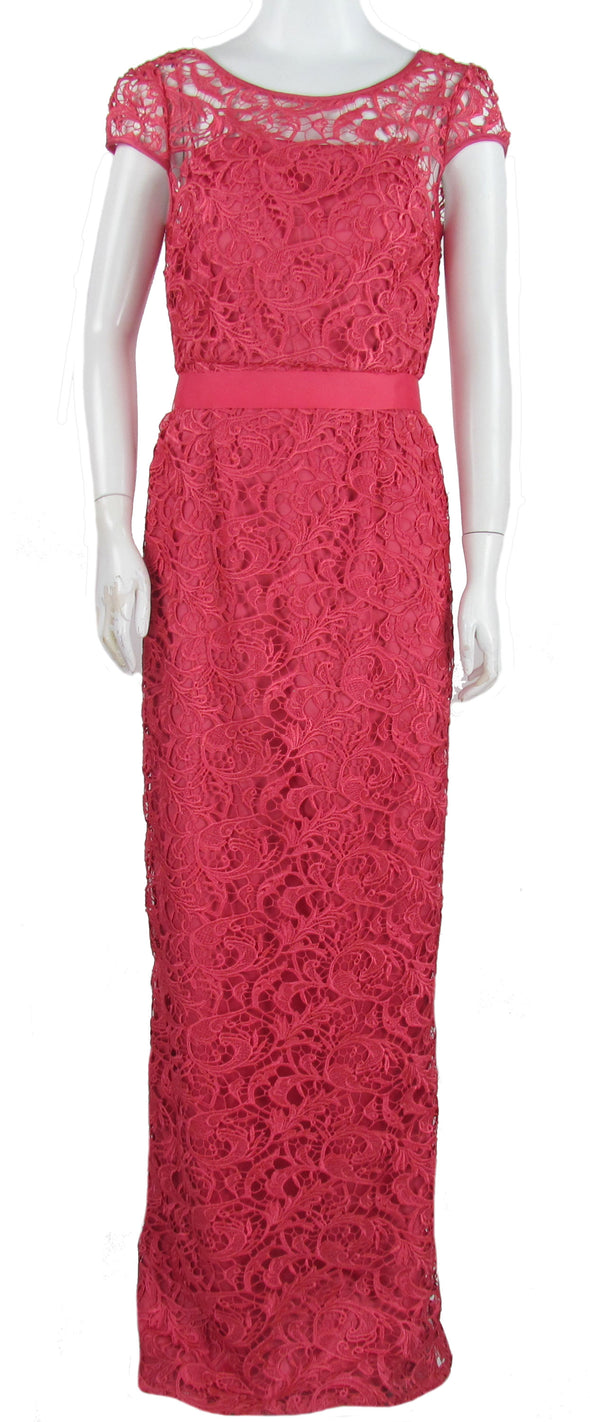 Adrianna Papell Women's Cap Sleeve Illusion Lace Full Length Gown Coral Pink 8