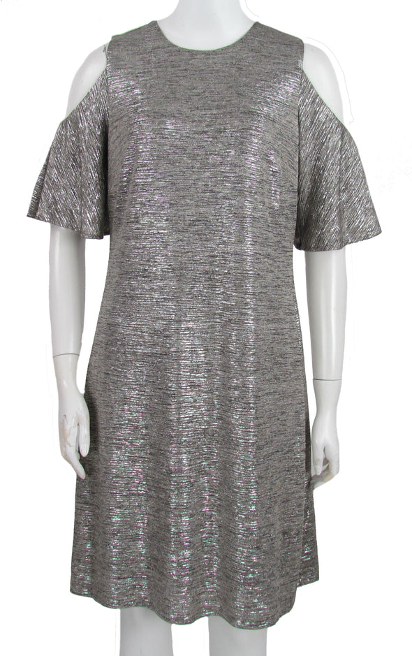 Calvin Klein Women's Cold Shoulder Metallic Dress Silver Size 4