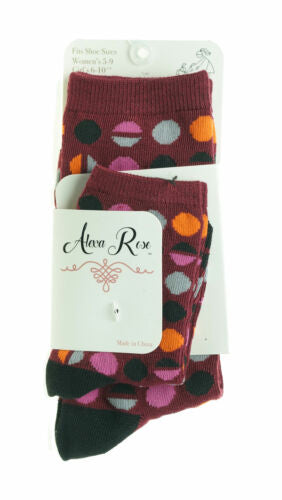 Alexa Rose Mommy & Me Socks Toddler & Girl Sizes Maroon Dots