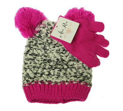 Alexa Rose Girl's Glove and Hat with Pom Pom Set Hot Pink