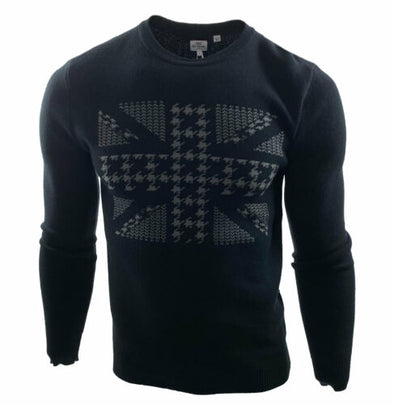 Ben Sherman Men's Union Jack Jacquard Sweater Black Size Small