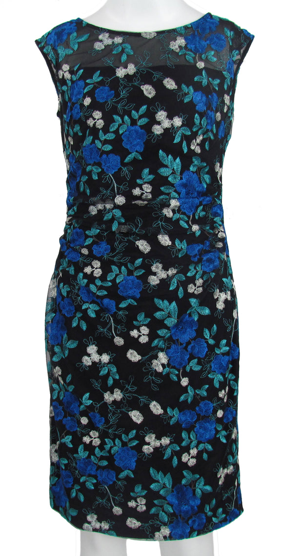 Lauren Ralph Lauren Women's Petite Floral Embroidered Shift Dress Black Size 2P