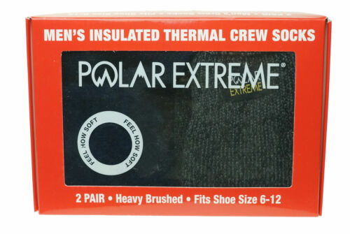 Polar Extreme Men's 2 Pair Thermal insulated Fleece Crew Socks Navy Gray Marl