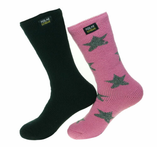 Polar Extreme Womens 2 Pair Thermal Insulated Fleece Crew Socks Black Pink Stars