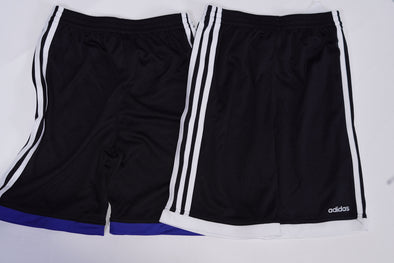 Adidas Boy's 2 Piece Elastic Waist Three Stripe Shorts Black Blue White Size 7