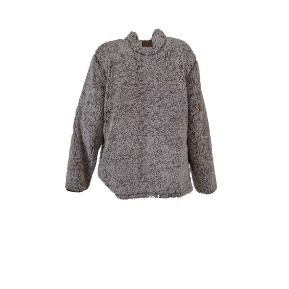 Girlie Girl Women's Sherpa Quarter Zip Sweater Brown Size XL
