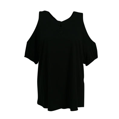 Lauren Ralph Lauren Women's Keyhole Cold Shoulder Blouse Black Size 2X