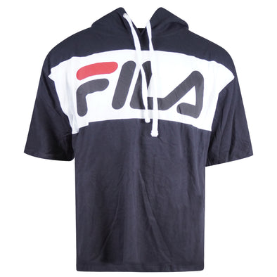 Fila Men's Short Sleeve Hooded Graphic Shirt Black White Size 1XL