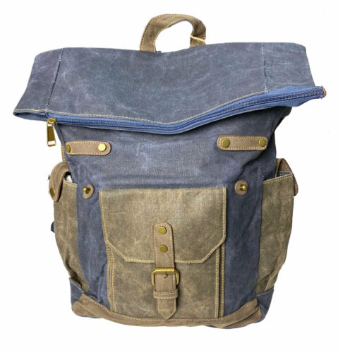 Cargo IT Waxed Canvas Flap Over Backpack Navy Blue Military Green