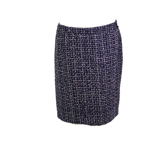 DKNY Women's Tweed Metallic Straight Pencil Skirt Blue Black Size 18