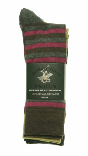 Beverly Hills Men's 5 Pair Fashion Design Dress Socks Brown Tan Magenta