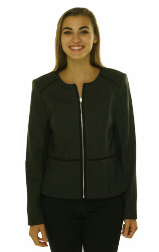 Calvin Klein Women's Full Zip Front Long Sleeve Blazer Charcoal Black Size 6