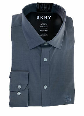 DKNY Men's Slim Fit Stretch Soft Button Front Dress Shirt Gray Size 16 32/33