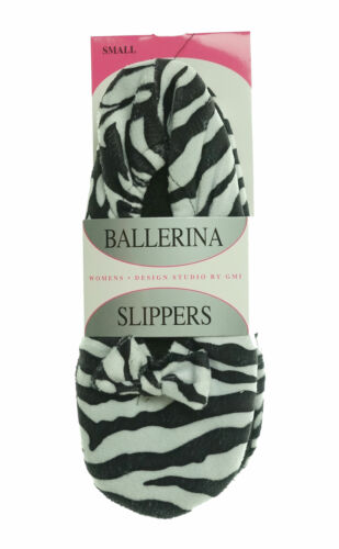 Design Studio by GMI Women's Slip On Ballerina Slippers Zebra Black White