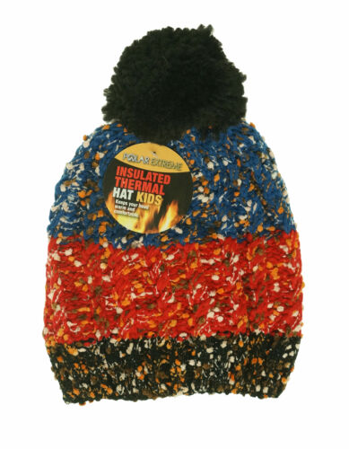 Polar Extreme Kids Thermal Insulated Pom Pom Colorblock Beanie Black Blue Red