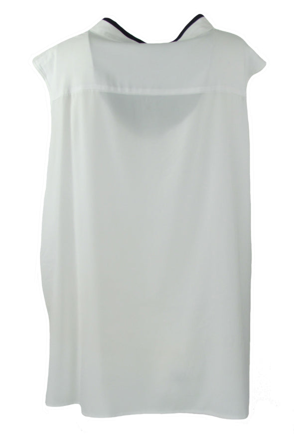 Calvin Klein Women's Petite Ruffled Front Sleeveless Top White Black Size PXL