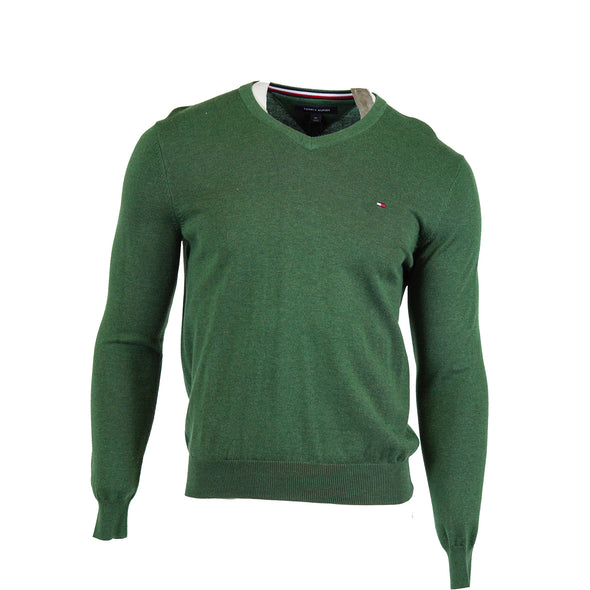 Tommy Hilfiger Men's Signature V Neck Long Sleeve Sweater Green Size Small