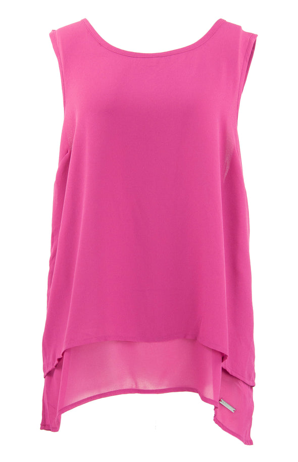 Michael Kors Women's Sleeveless Flyaway Chiffon Tank Top Fuchsia Size Large