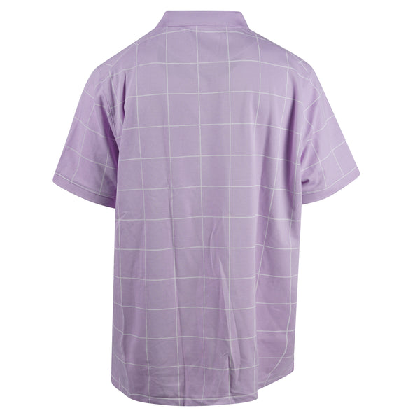 Nike Men's Short Sleeve Collared Dri Fit Checkered Polo Purple White