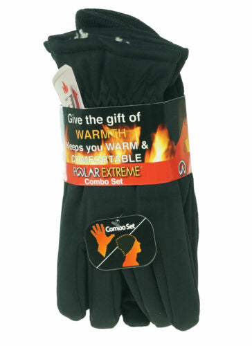 Polar Extreme Men's Heat Stretch Glove and Pull Hat Set Black