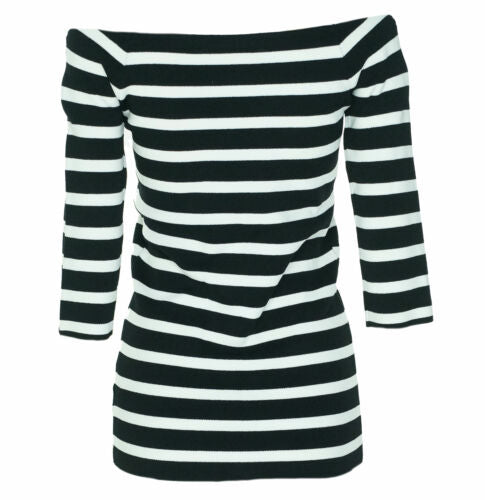 Rachel Roy Women's Striped Off The Shoulder Top Black White Size XS