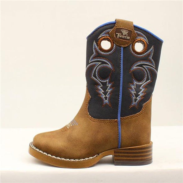Twister Western Boots Toddler Boy's Ben Cowboy Boots Blue Brown Size 5.5