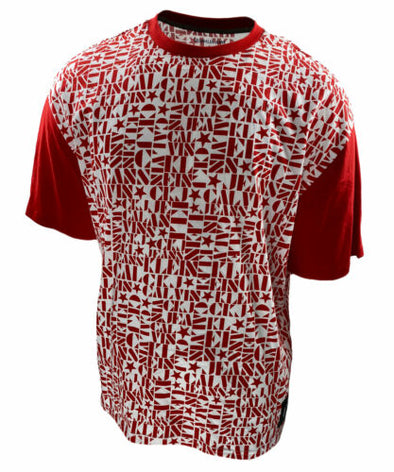 Calvin Klein Men's Short Sleeve Star Print Logo T Shirt Red White Size Large