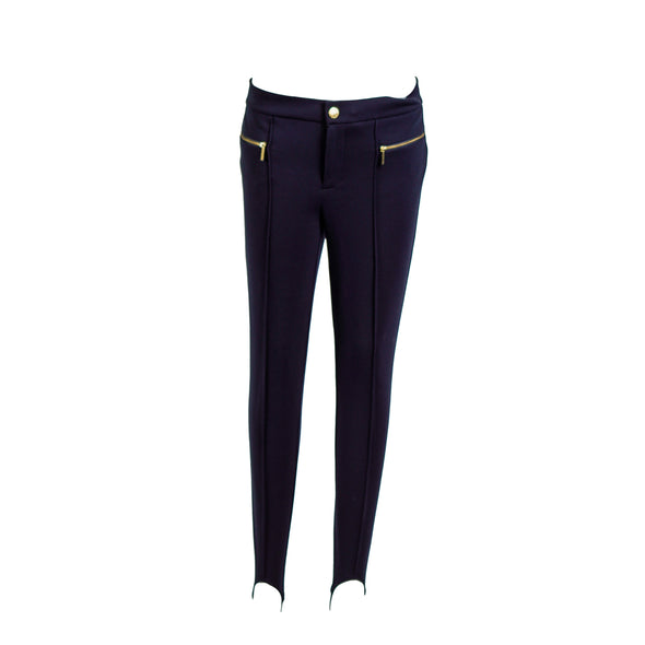 Michael Kors Women's Petite Stretch Stirrup Ponte Pants Navy Blue Size 8P