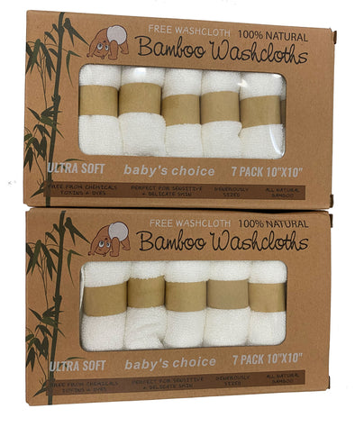 Kinsey Rhea Bamboo Washcloths 14 Pack White Ultra Soft Sensitive Skin