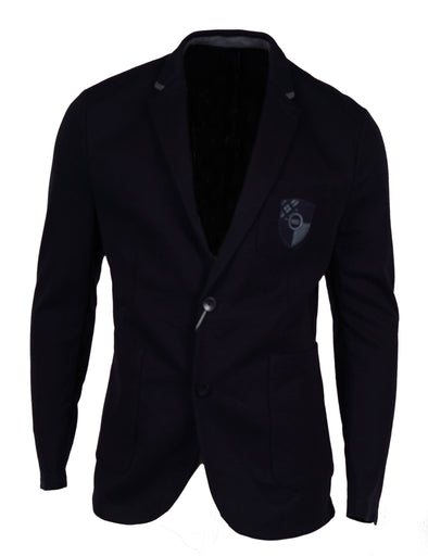 Ryan Seacrest Men's Slim Fit Crested Knit Blazer Navy Blue Size Large