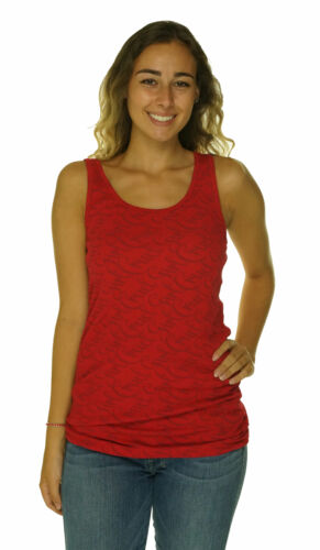 Cruel Girl Women's Round Neck Ribbed Graphic Stretch Tank Top Red