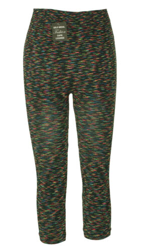 Gold Medal Women's Fashion Striped Stretch Capri Leggings Multi Color