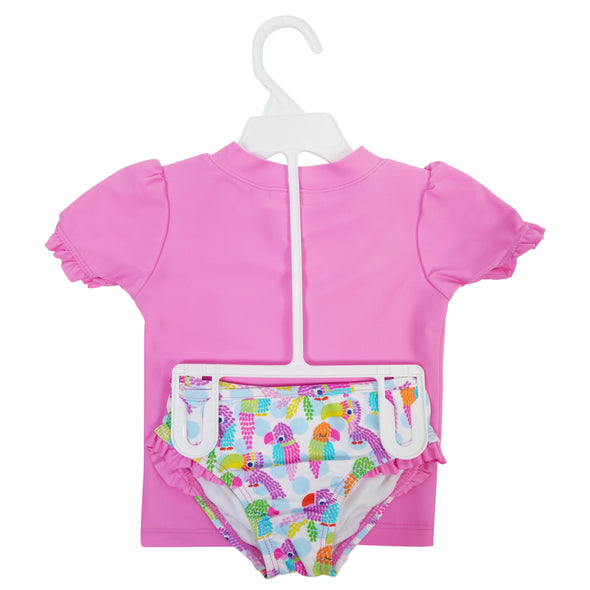 Kiko & Max Little Girl's Toucan Short Sleeve 2 Piece Rashguard Swim Set Pink