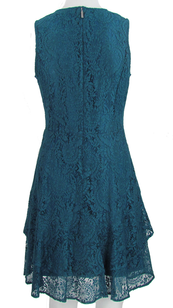 Michael Kors Women's Fit & Flare Sleeveless Dress Teal Blue Size Petite Medium