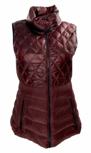 Calvin Klein Women's Performance Quilted Metallic Down Vest Maroon Size Large