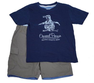 Penguin Boy's 2 Piece T Shirt Elastic Waist Short Set Navy Brown Size 5