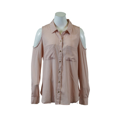 Calvin Klein Women's Cold Shoulder Long Sleeve Button Front Shirt Blush Medium