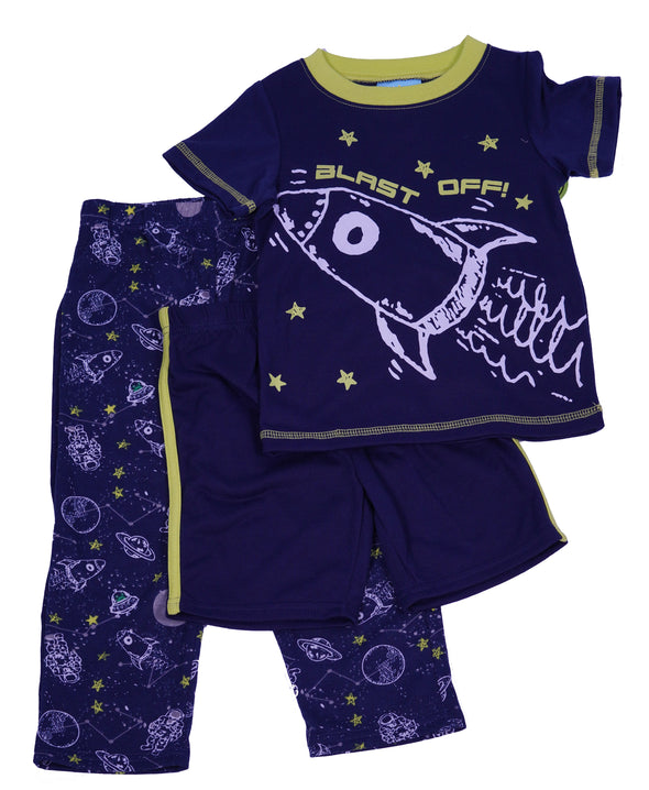 Bunz Kids Toddler Boy's 3 Piece Glow in the Dark Sleep Shirt Pants Shorts Navy