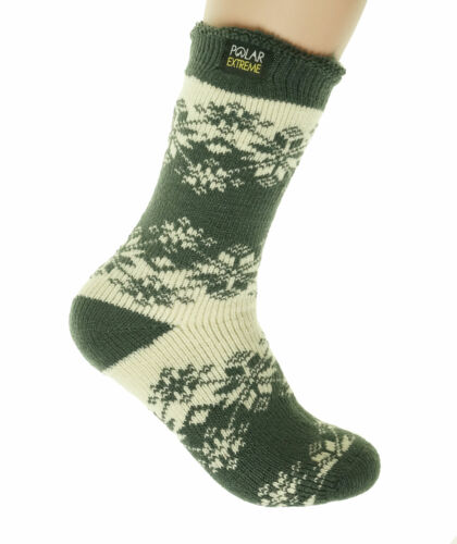 Polar Extreme Women's Thermal Insulated Lined Crew Socks Ivory Snowflakes