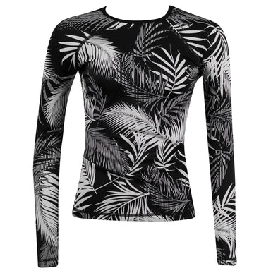 Athleta Women's Sandy Beach Long Sleeve Rashguard Black White Size XXS