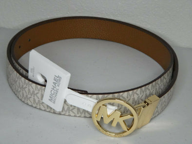 Michael Kors Women's Reversible MK Logo Belt Vanilla Tan Size Small