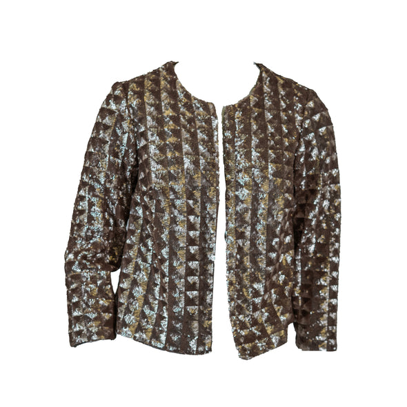 Alfani Women's Petite Sequin Open Front Jacket Metallic Beige Gold Size PP